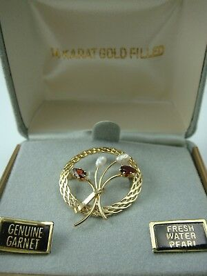 Vintage 14K Gold Filled Genuine Garnet Pearl Miniature Pin Brooch In Orig Box
