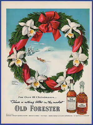 Vintage 1951 OLD FORESTER Bourbon Whiskey Alcohol Christmas Decor Print Ad 50's