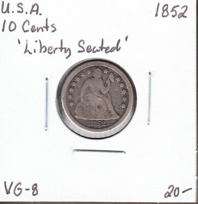1852 - United States - Dime - Seated Liberty - VG-8 - AM08