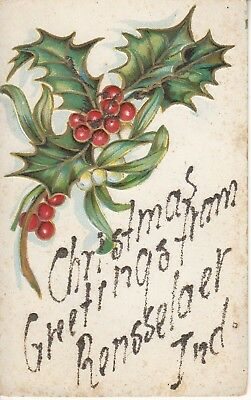 IN - Embossed Holly Glitter Christmas Greetings from Rensselaer, INDIANA