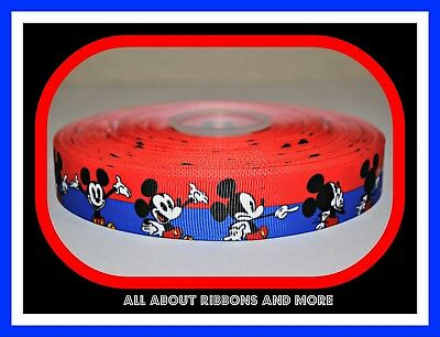 7//8 INCH MICKEY MOUSE WITH ROYAL BLUE AND RED STRIPE GROSGRAIN RIBBON 1 YARD