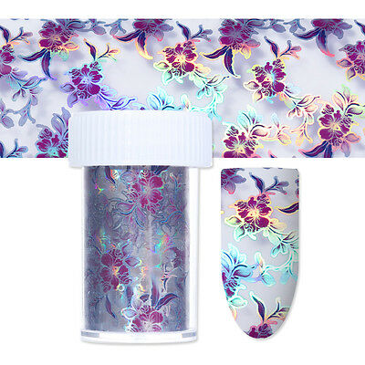 Holo Starry Nail Foils Purple Flower Holographic Nail Art Transfer Sticker Decal