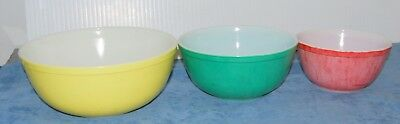 Vintage Set Of 3 Pyrex Primary Colors Mixing Nesting Bowls  402- 403- 404
