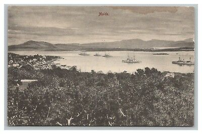 Norway postcard Molde, distant town view navy warships ? in fjord, AS IS - STAIN