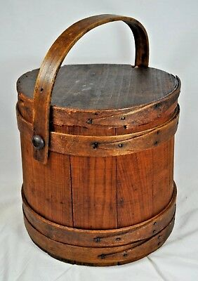 """Antique Wooden Firkin Sugar Bucket~10""""~ Pegged Swing Handle~4-Finger with Lid"""