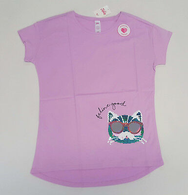 NWT Justice Kids Girls Size 6/7 8 10 12 14/16 Purple Flip Sequin Cat Kitty Top