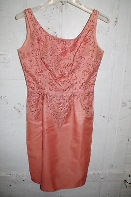 VTG Jr. Theme 50s 60s Party PROM Dress Coral Glass Beads & Sequins Silk Organza