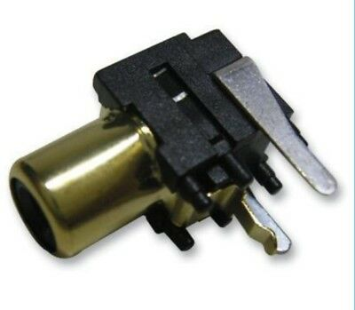 RCA Phono Socket PCB Mount Gold/Black Female Connector Adapter Plug (Pack of 2)