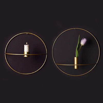 Wall Mounted Gold Candle Holder 3D Geometric Tea Light Home Candlestick