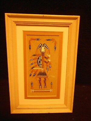 Framed Sandpainting Signed by Artist Hunchback
