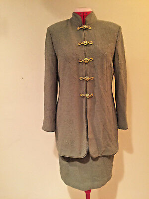 ST JOHN COUTURE by Marie Gray DARK OLIVE GREEN KNIT SKIRT SUIT  Ladies Sz 2