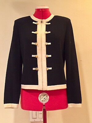 ST JOHN COLLECTION by Marie Gray BLACK w/IVORY TRIM ZIP FRONT JACKET Ladies Sz 2