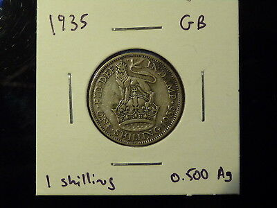 1935 UK Great Britain England silver shilling