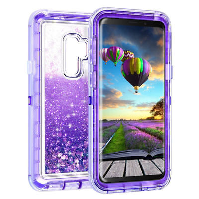 For Samsung Galaxy Note 9 S8+ S9 Plus Quicksand Glitter Liquid Clear Case Cover