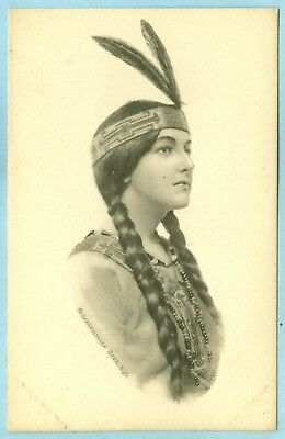 Vintage, Very Pretty Squaw with Braided Hair and Head Band with 2 Feathers...