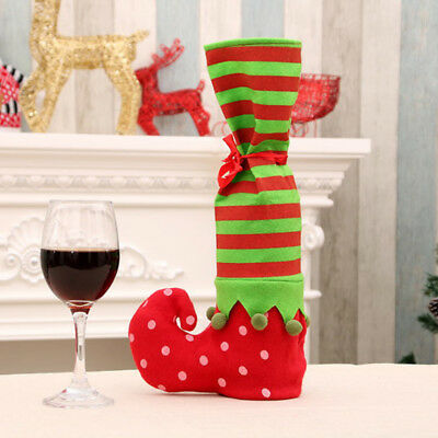 Christmas bottle cover wine elves sock boot table home xmas party supplies Jc
