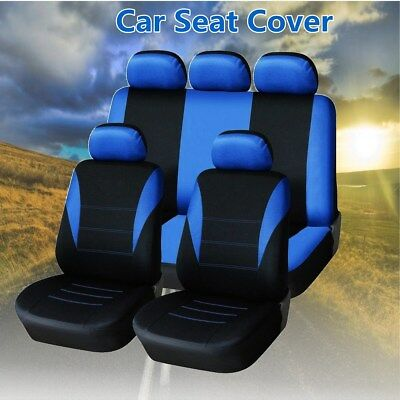 Universal Blue Car Seat Covers Protector 9pcs Full Set Front Rear Head Rests AU