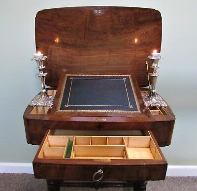Rare Exceptional Quality Small Regency Antique Walnut Library Writing Table Desk