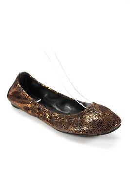 70f174a752d Tory Burch Womens Round Toe Ballet Flats Brown Metallic Leopad Suede Size 6