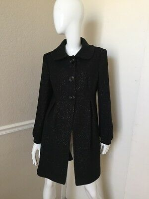 b2626766ce6 Helene Berman London NEW! Black w  Metallic Flecks Lined Wool Coat M NWOT!