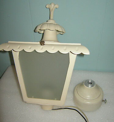 Vintage Cast Aluminum Porch or Lamp Post Light, Outdoor Fixture, Ivory Finish