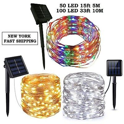 Outdoor Solar Powered 16.5Ft 33Ft 50 100 LED 5M10M Copper Wire Light String Xmas
