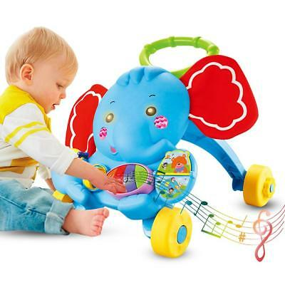 Baby Elephant Learning Walker Assistant Toddler Trolley Toy Car with Music Gift