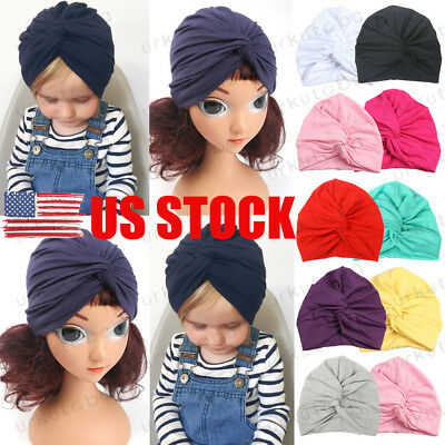 US Infant Baby Turban Toddler Kids Boy Girl Cotton Blends Hat Lovely Soft Cute