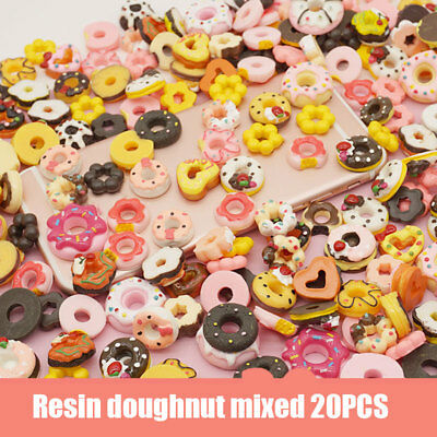 20 Pcs Mix Designs Resin Sweet Food Cabochons Jewelry Mobile Phone DIY Acce HCXM