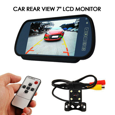 "7"" LCD Mirror Monitor+Wireless Car Reverse Rear View Backup Camera Night Vision."
