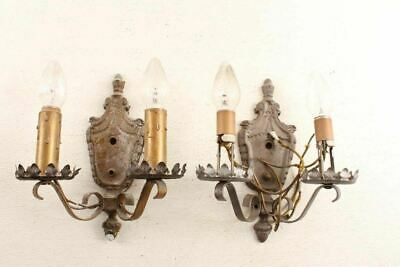Matching Pair Antique Decorative Wall Sconce Light Fixtures
