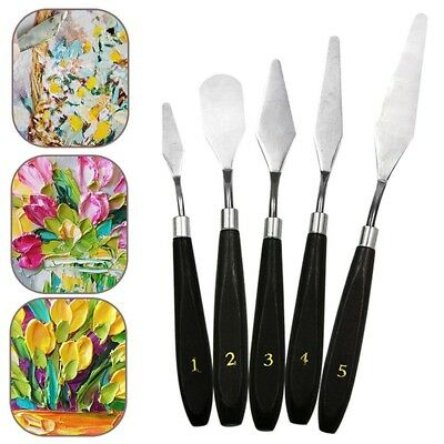 5Pcs Mixed Stainless Steel Palette Scraper Spatula Set for Artist Oil Paint HCXM
