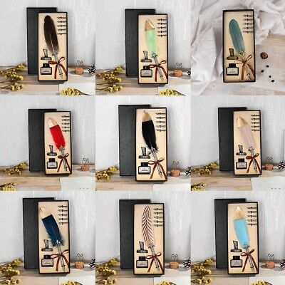 English Calligraphy Feather Dip Quill Pen Writing Gifts Box Ink Set Stationery