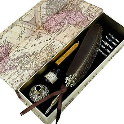 GC QUILL Feather Quill pen Set- 100% Hand Craft - Golden Calligraphy Pen
