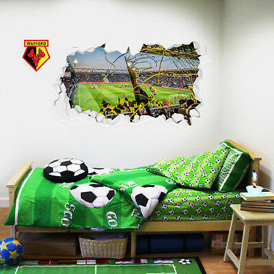 Watford FC Wall Sticker Smashed Vicarage Road Stadium Crowd & Wall Art Decal Set