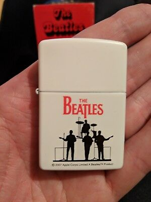 Rare Zippo The Beatles White Silhouette With Case And Sleave