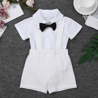 Infant Baby Boys Baptism Outfit Formal Romper+Suspender Shorts Party Costume