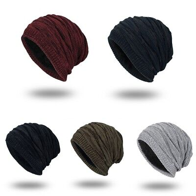 fa648f95b0159 Mens Wool Knit Baggy Beanie Cap Winter Warm Outdoor Ski Slouchy Knitted Hat  New