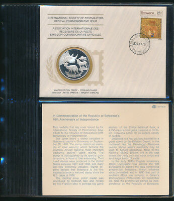 Botswana: 1976 African Wildlife Large Silver Medal PNC (Weight 20g, 38mm)