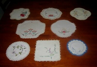 8 VINTAGE HAND EMBROIDERED DOILIES ~ LINEN & COTTON ~ LACE EDGED (c)