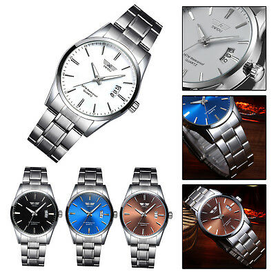 Stainless Steel Date Watches Mens Army Military Sport Analog Quartz Wrist Watch