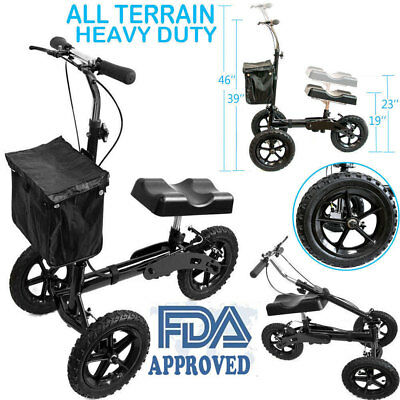 All Terrain Foldable Knee Walker Scooter Heavy Duty Crutches US FDA Approved NEW