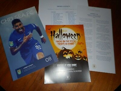 CHELSEA  v  DERBY COUNTY 2018/19 CARABAO CUP 4 ~ OCT 31 + T/SHEET + RARE EXTRAS