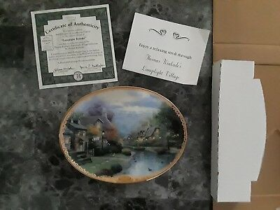 "Thomas Kinkade Oval Collector 8 3/4"" Plate LAMPLIGHT BROOKE w/ certificate"