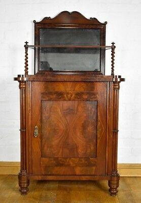 Antique flame mahogany spiral barley twist side cabinet chiffonier