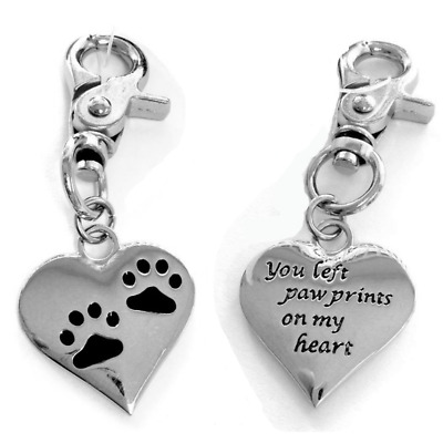 Memorial Charm Pet Beloved Cat Dog Key Chain Ring Paw Prints Heart Christmas