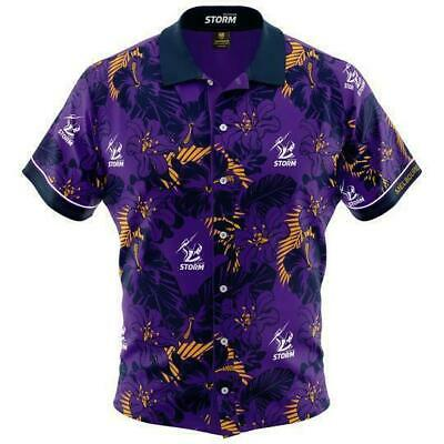 Melbourne Storm NRL 2019 Hawaiian Button Up Polo T Shirt Sizes S-5XL!