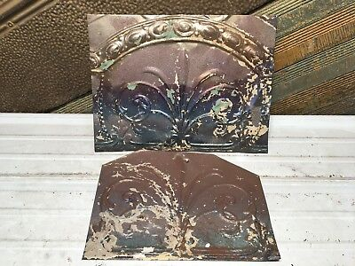"2pc Lot of 17"" by 13"" Antique Ceiling Tin Vintage Reclaimed Salvage Art Craft"