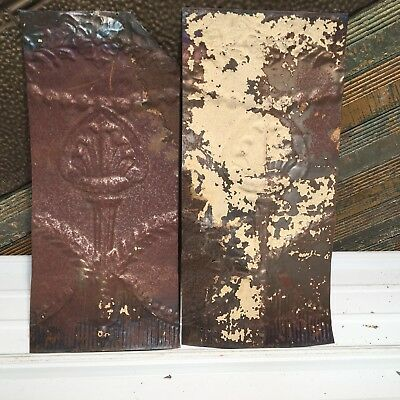 "2pc 20"" x 9"" Torch Antique Ceiling Tin Vintage Reclaimed Salvage Art Craft"