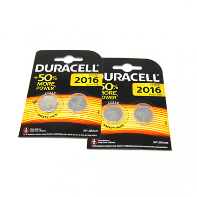 4x Duracell CR2016 3V Lithium Button Battery Coin Cell DL/CR/BR 2016 Exp. 2027